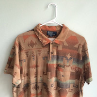 vintage polo ralph lauren aztec short sleeved shirt / native tribal print