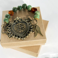 One of a Kind Brass Heart with Green Ceramic Beads, Beaded Bracelet, Goth Bracelet