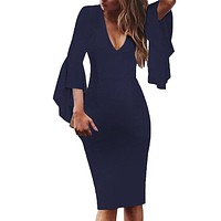 2019 Womens Sexy Bodycon Dress Ladies V-Neck Bell Sleeves Work Party Cocktail Work Sheath Office Midi Dress
