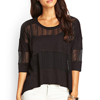 LOVE 21 Striped Lace Top