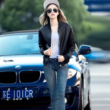 Winter Stylish Slim PU Leather Jacket [8511457735]