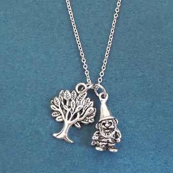 Garden gnome, Tree, Silver, Necklace, Birthday, Best friends, Sister, Christmas, New year, Gift, Jewelry