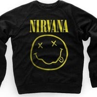NIRVANA SWEATER SMILEY FACE LOGO SWEATSHIRT CREWNECK KURT COBAIN DAVE GROHL