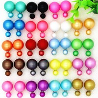 ES038 14 Colors Fashion Double Sided Pearl Stud Earrings For Women Pendientes Mujer 2017 Ball Jewelry boucle d'oreille