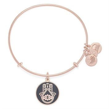 Alex and Ani Charcoal Hand of Fatima Charm Bangle - Shiny Rose Gold...
