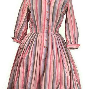 1950 Pink Rockabilly Shirtwaist Cotton Dress, Just In
