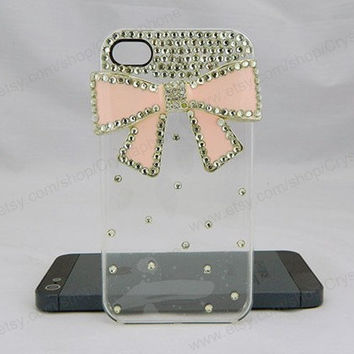 Pink bow  Crystal   iPhone case,bling iphone 6 case,Crystal iphone 6 Plus,Rhinestone iphone 5/5S/5c,iphone 4 case samsung galaxy S3/S4/S5