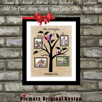 Custom Family Tree Frame Picture: Last Name Established Date Love Birds Photo Home Decor Wall Art Print Poster Housewarming Gift For Family