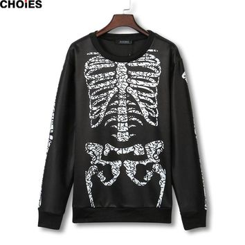 Women Black Skeleton Print Oversized Sweatshirt Long Sleeve O Neck Hoodies  New Spring Casual Loose Fashion Pullover
