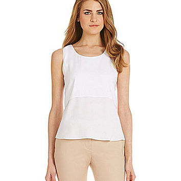 Calvin Klein Layered Crepe De Chine Top - White