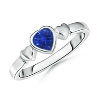 Heart Sapphire Three Heart Ring