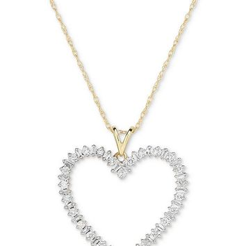 Macy's Diamond Heart Pendant Necklace (1/2 ct. t.w.) in 14k Gold & Reviews - Necklaces - Jewelry & Watches - Macy's