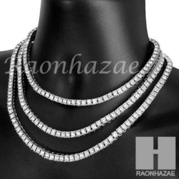 DCCKH7E Iced Out Silver Tennis Choker Necklace 1 Row Solitaire Lab Diamond 4.5mm Chain S