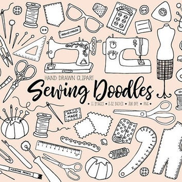 Hand Drawn Sewing Clipart. Doodle Dressmaking Clip Art. Tailor's, Crafts, Thread, Mannequin, Needle, Sewing Machine, Bobbin Illustrations.