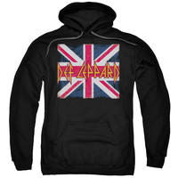 DEF LEPPARD/UNION JACK-ADULT PULL-OVER HOODIE-BLACK