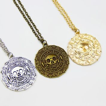 Pirates Of The Caribbean Necklace Jack Sparrow Aztec Coin Medallion Pendant Johnny Depp Movie