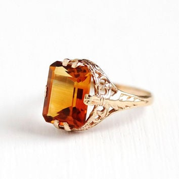 Vintage 10k Rosy Yellow Gold Art Deco Citrine Filigree Ring - 1920s Size 5 Orange Gemstone November Birthstone Leaf Motif Fine Jewelry