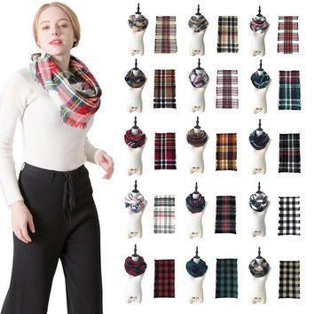 Winter Chic Knit Tartan Plaid Infinity Scarf Shawl Women Loop Bandana New Designer Red Buffalo Acrylic Grid Check Snood Scarves