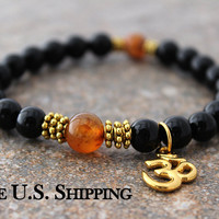 Om Bracelet - Black Onyx Bracelet - Orange Agate - Black Bracelet - Ohm Jewelry, Black Onyx Jewelry - Energy Bracelet - Meditation Mala