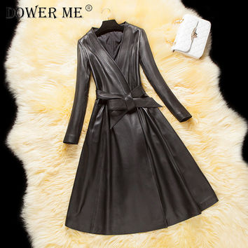 winter new sheepskin long coat Slim  leather female long  whole piece of leather on the back trench coat jacket belted LE001