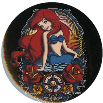"Licensed cool Disney Little Mermaid Princess Ariel Tattoo 1 1/4"" Button Pinback Lanyard Charm"