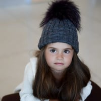 Kids Knit Beanie in Grey, Cable Knit Girls Winter Hat with Fur Pom, Toddler Fur Pom Pom Hat - Fall and winter hat