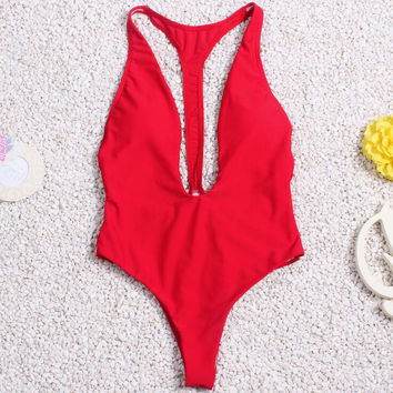 solid color triangle one piece swimsuit