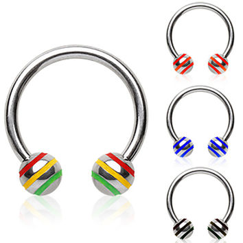 316L Surgical Steel Horse Shoes with 3 Striped Ball
