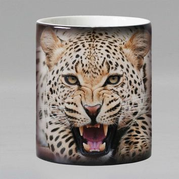 Leopard animal Heat sensitive Coffee mug cup