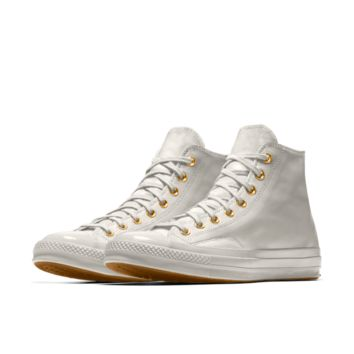The Converse Custom Chuck Taylor All Star '70 Tumbled Leather Pony Hair High Top Shoe.