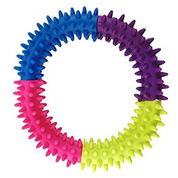 Small Pet Puppy Dog Chew Toy for Teeth Cleaning and Training Interactive Playing - 4.7 Inch, Soft Natural Rubber Ring Doggie Toys by Aduck ( Random Color )