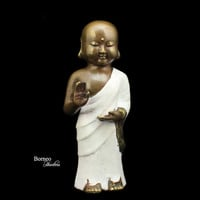 "Abhaya Buddha 9.5""Buddhist Monk Of Compassion And Wisdom/Dhayana Mudra Meditation; No Fear Mudra Fine Buddhist Sculpture In White Robe/Decor"