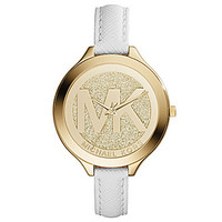 Michael Kors Ladies Slim Runway Watch - White/Goldtone