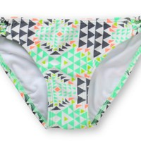 Malibu Road Trip White Geo Print Side Strap Bikini Bottom
