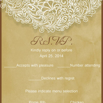 Lace Wedding Invitation Suite- Rustic- Laser cut-Kraft Paper-Bridal shower-Baby Shower-DIY