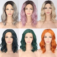 Polaris- Short Heat Resistant Hair Dark Green Hand Tied Synthetic Lace Front Wig