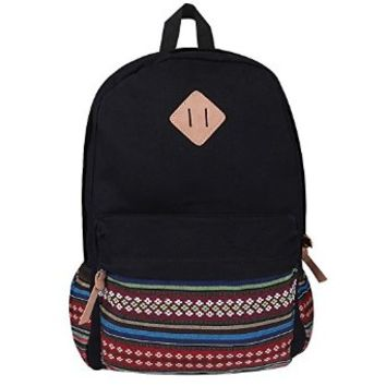 Plambag Unisex Adult Teenagers Causal Lightweight Boho Ethinc Canvas School Backpacks Black