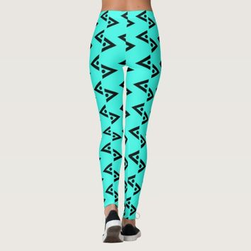 BLACK AND TEAL LEGGINGS ABSTRACT HAVIC ACD