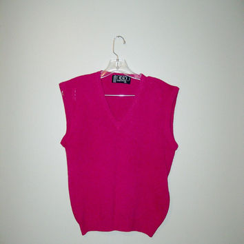 Vintage 80s Hot Pink Wool Blend Sweater Vest / Spring Sweater / Women / S / M