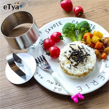 eTya 2pc/set Stainless Steel Small Mousse DIY Circle Push Plate Pressure Plate Rice Ball Sushi Tools Cake Biscuit Cutting Mold