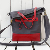 Canvas totes - leather bag - Foldover bag - Crossbody bag - Red two tone tote Gift for her Large Rust brown leather strap