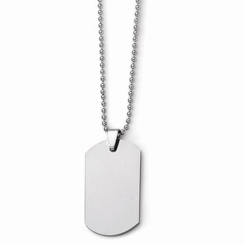 Men's Tungsten Polished Dog Tag 22 inch Necklace