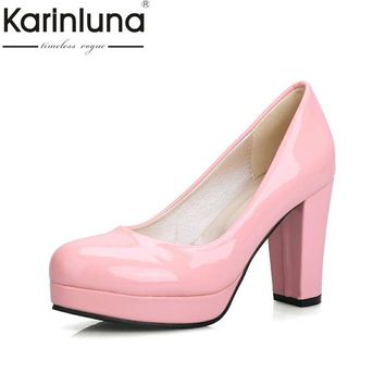 small big size 32-43 fashion sexy OL pumps lady round toe solid slip on platform shoes woman spring summer women party wedding