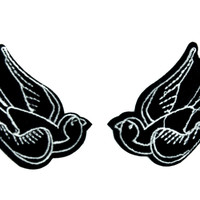Black Tattoo Sparrow Birds Patch Iron on Applique Rockabilly Clothing