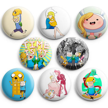 Adventure Time Pinback Buttons Badge #4 (Set of 8) 1.25 inches Finn & Jake,New
