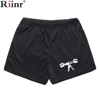 Riinr Summer New Arrival Printing Gyms Shorts Brand Casual Short High Quality Cotton Blends Bodybuilding Shorts Free Shipping