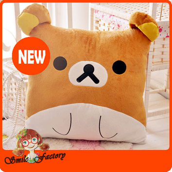 New San-X Rilakkuma Relax Bear Face Plush Pillow Sofa Cushion Soft Cute Gift