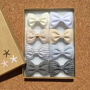 Cute neutral Seaside Sparrow hair bow set of eight. Hair bows for teens Hair bow hair bows for girls cute hair bows hair bow girl bow