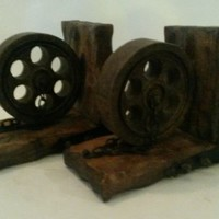 Mid Century Gothic Spanish Revival Hand Carved Bookends Wheel Chains Nails