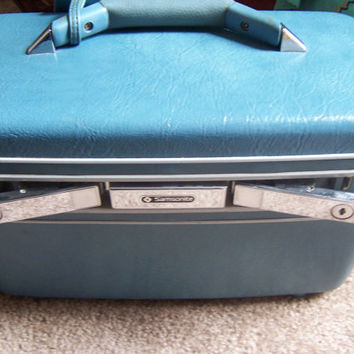 Vintage Samsonite Train Case - Blue